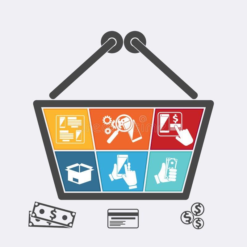Cesta de compras con los iconos del comercio electrónico en línea stock de ilustración