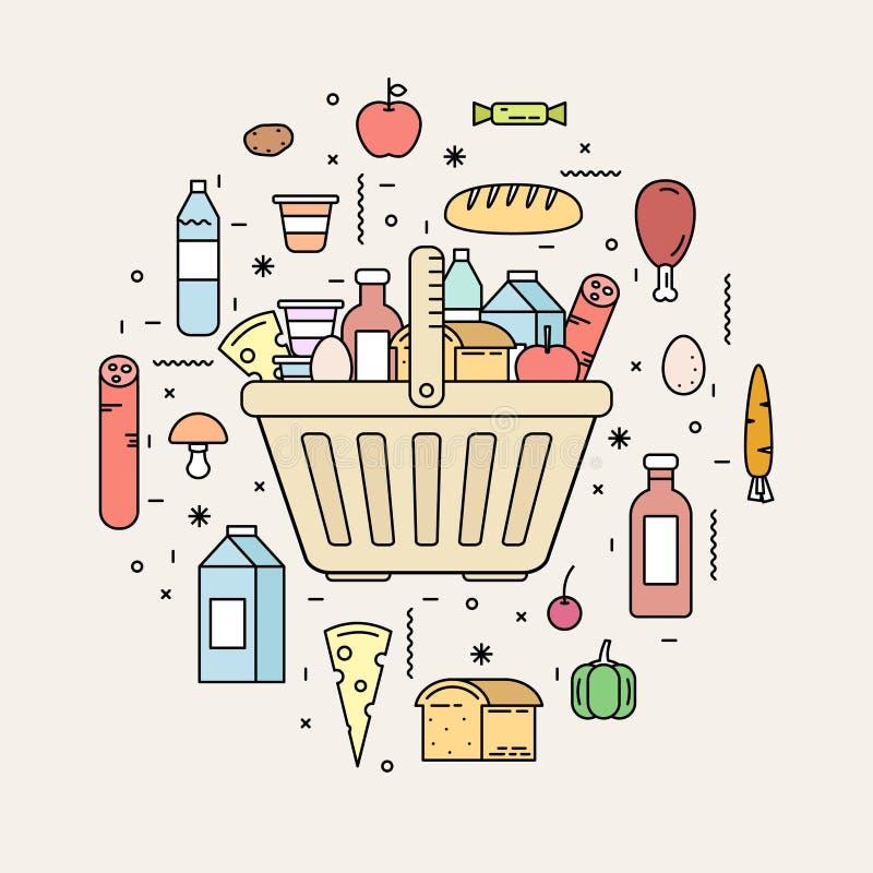 Cesta de compras con los productos alimenticios de la tienda ilustración del vector
