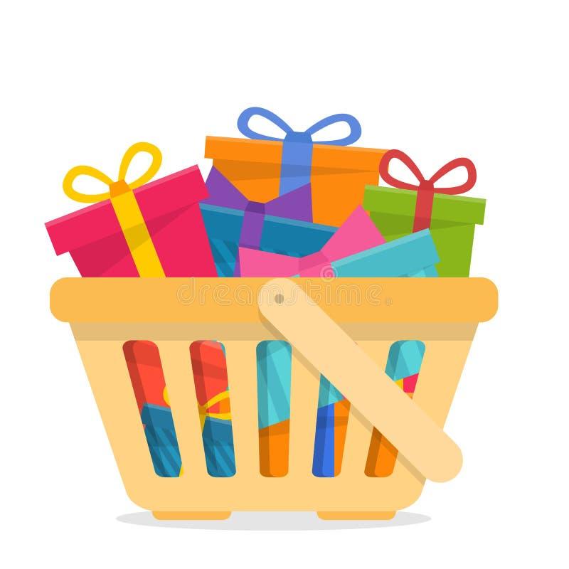 cesta de compras con los regalos libre illustration