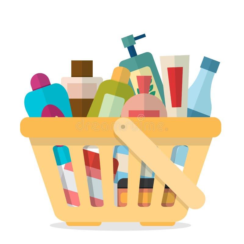 Cesta de compras con los tubos stock de ilustración