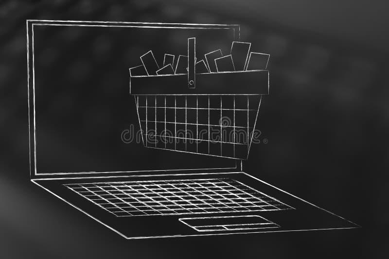 Cesta de compras por completo de artículos haciendo estallar fuera de la pantalla del ordenador portátil stock de ilustración