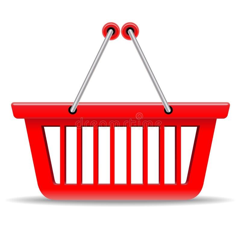 Cesta de compras roja ilustración del vector