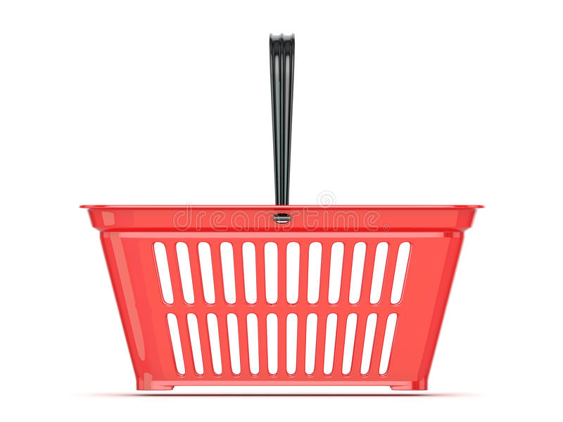Cesta de compras roja Front View stock de ilustración