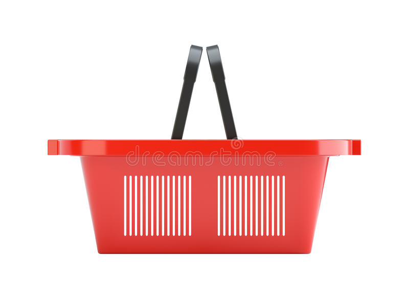 Cesta de compras vacía plástica roja ilustración del vector