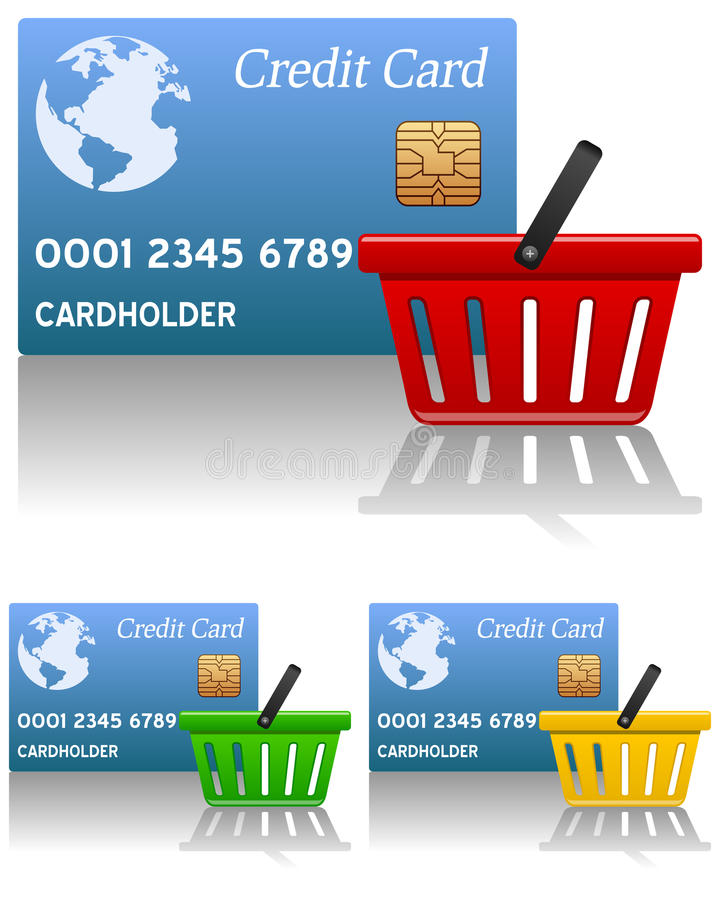 Cesta de compras y tarjeta de crédito libre illustration
