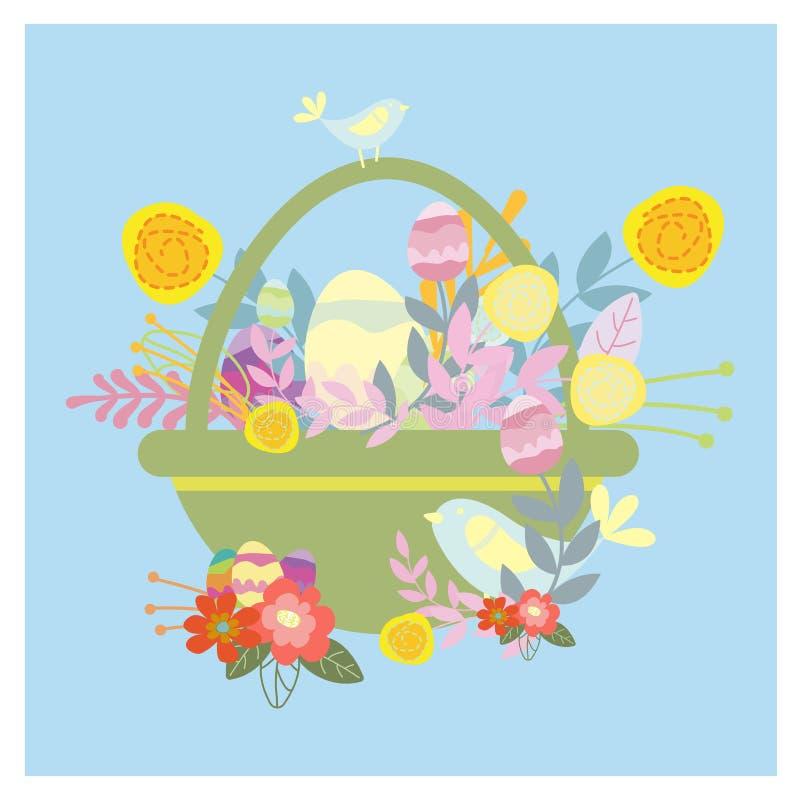 Cesta de Easter com ovos P?ssaros pequenos engra?ados ilustração do vetor