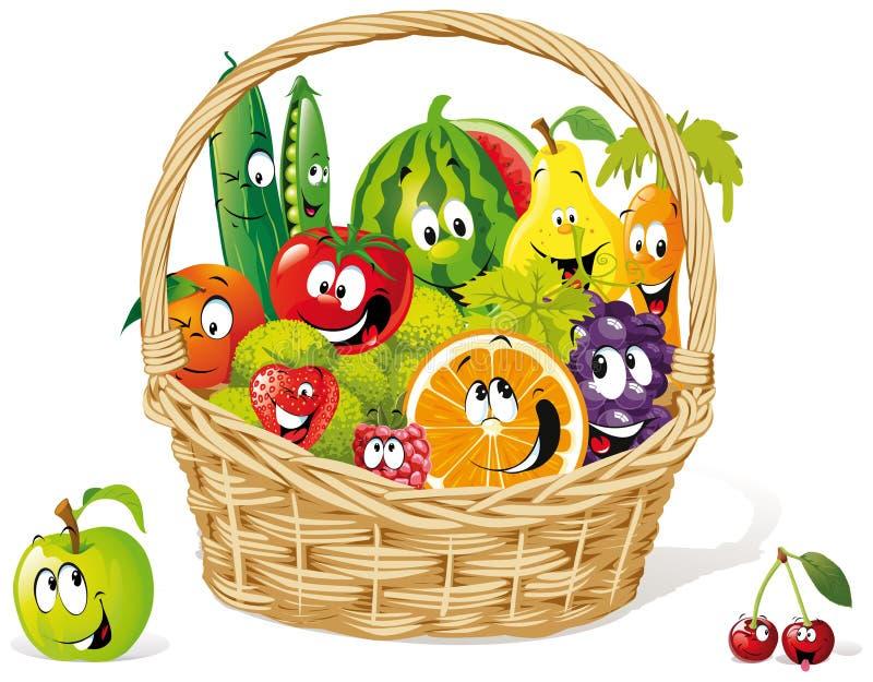 Cesta de fruta feliz stock de ilustración