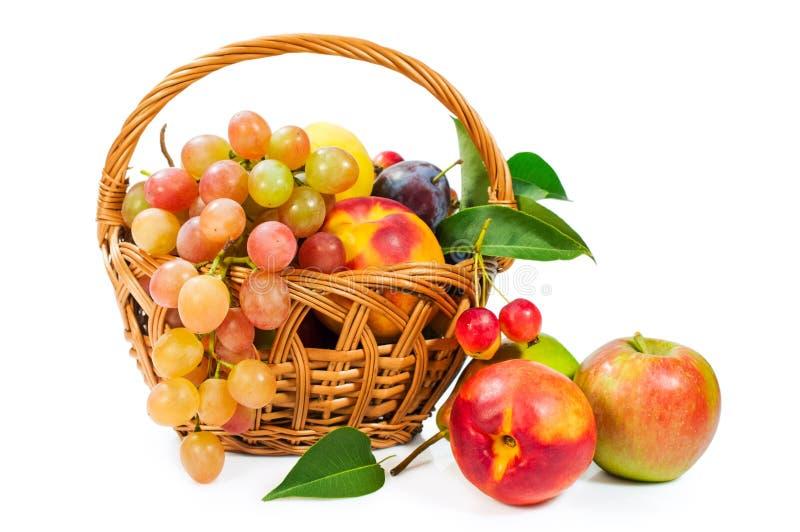 Cesta de fruta: manzanas, uvas, melocotones y ciruelos foto de archivo libre de regalías