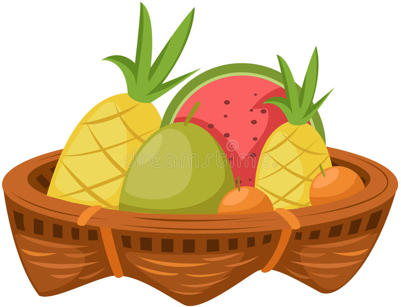 Cesta de frutas stock de ilustración