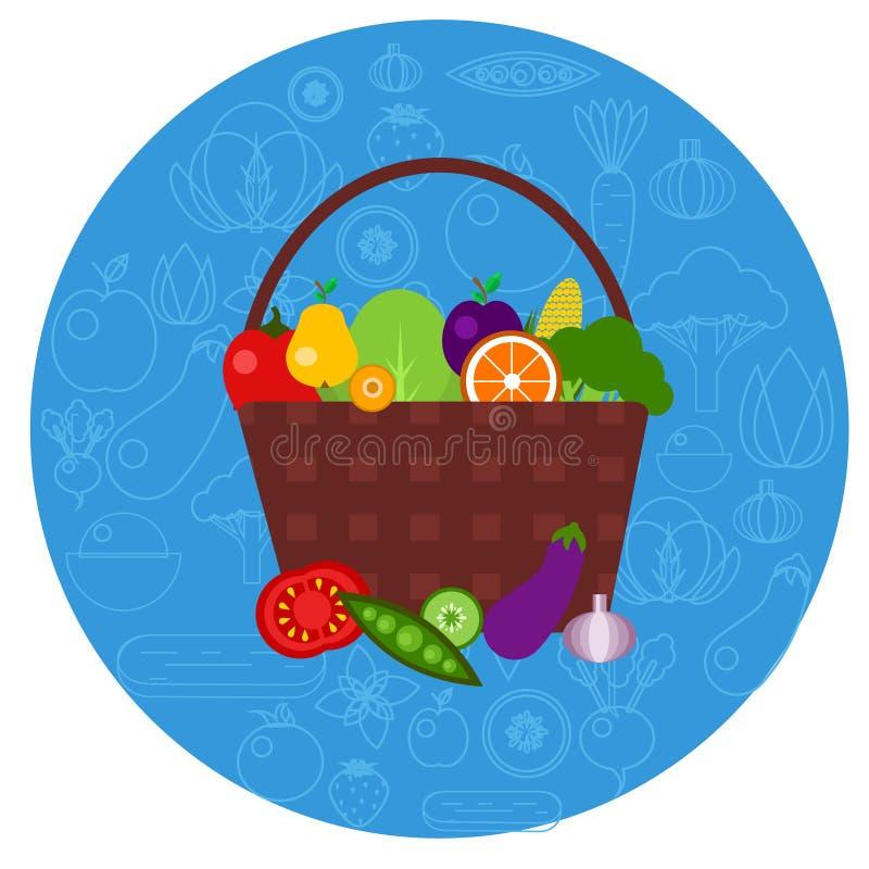 Cesta de frutas y verduras en forma redonda stock de ilustración