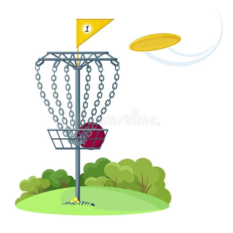 Cesta de golf de disco con disco de frisbeo volador amarillo ilustración del vector