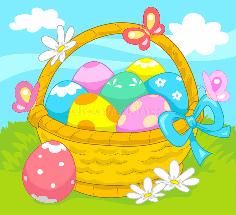Cesta de huevos de Pascua. libre illustration