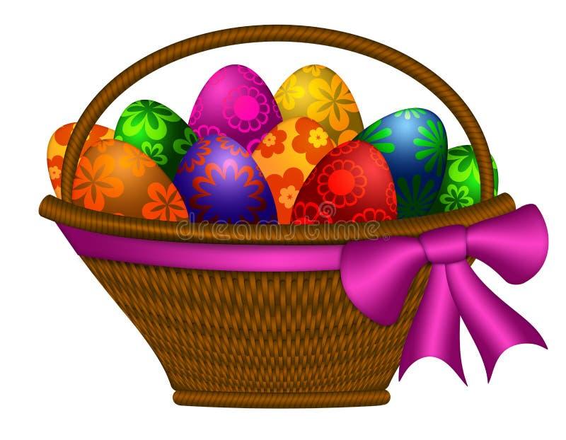 Cesta de huevos del día de Pascua con la ilustración del arqueamiento stock de ilustración
