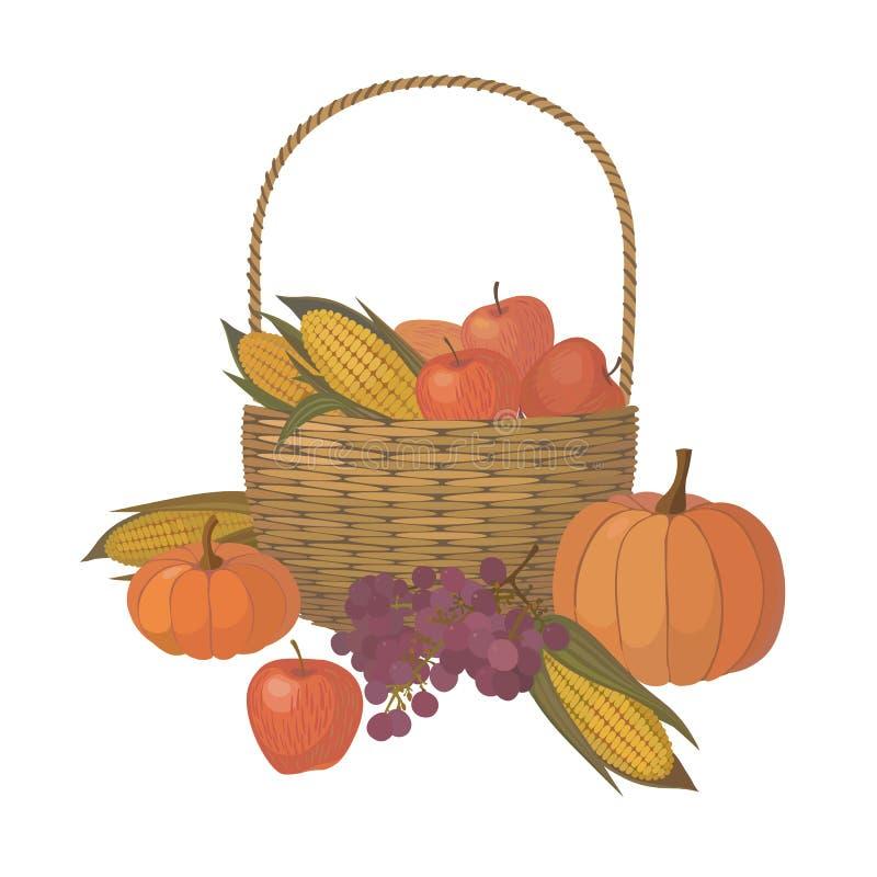 Cesta de la acción de gracias con la fruta y verdura en blanco libre illustration