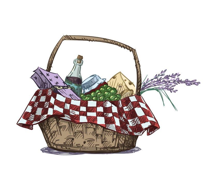 Cesta de la comida campestre con bocado ilustración del vector