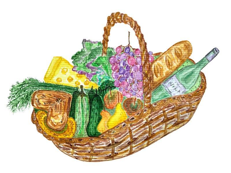Cesta de la comida campestre con la comida, el vino y el bocado stock de ilustración