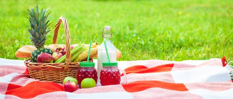 Cesta de la comida campestre, fruta, jugo en las pequeñas botellas, manzanas, verano de la piña, resto, tela escocesa, concepto d fotos de archivo libres de regalías