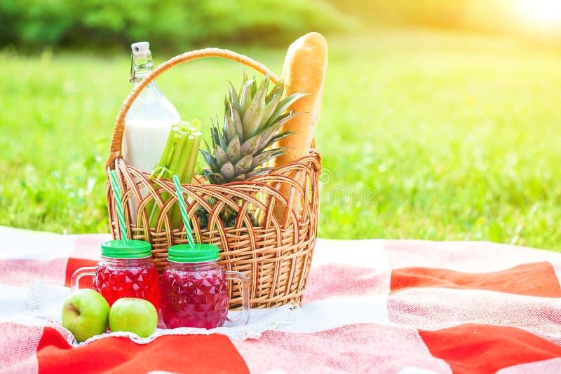 Cesta de la comida campestre, fruta, jugo en las pequeñas botellas, manzanas, verano de la piña, resto, tela escocesa, hierba Cop imagenes de archivo