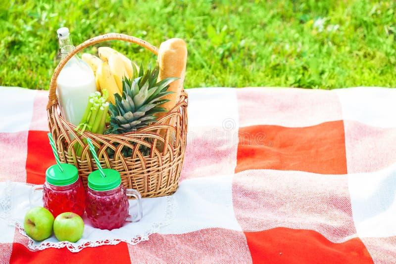 Cesta de la comida campestre, fruta, jugo en las pequeñas botellas, manzanas, verano de la piña, resto, tela escocesa, hierba Cop fotos de archivo libres de regalías