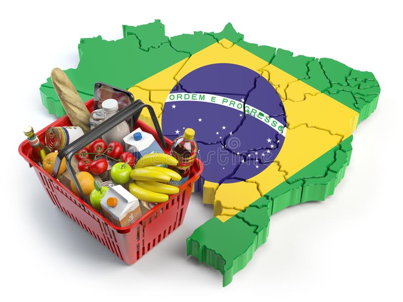 Cesta de la compra o índice de precios al consumo en el Brasil Clientes que hacen compras en el supermercado ilustración del vector