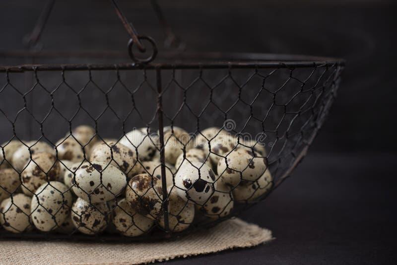 Cesta de la malla de alambre con los huevos de codornices fotografía oscura de la comida Fondo rústico, foco selectivo y luz natu fotos de archivo