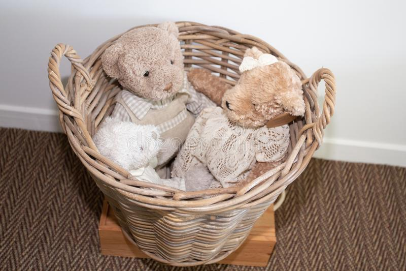 Cesta de la paja de osos de peluche del vintage de los peluches imagen de archivo