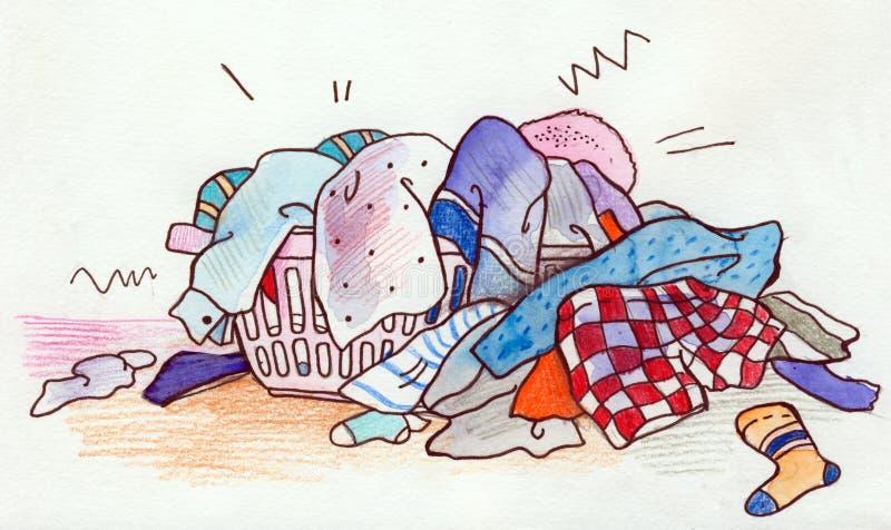 Cesta de lavadero stock de ilustración