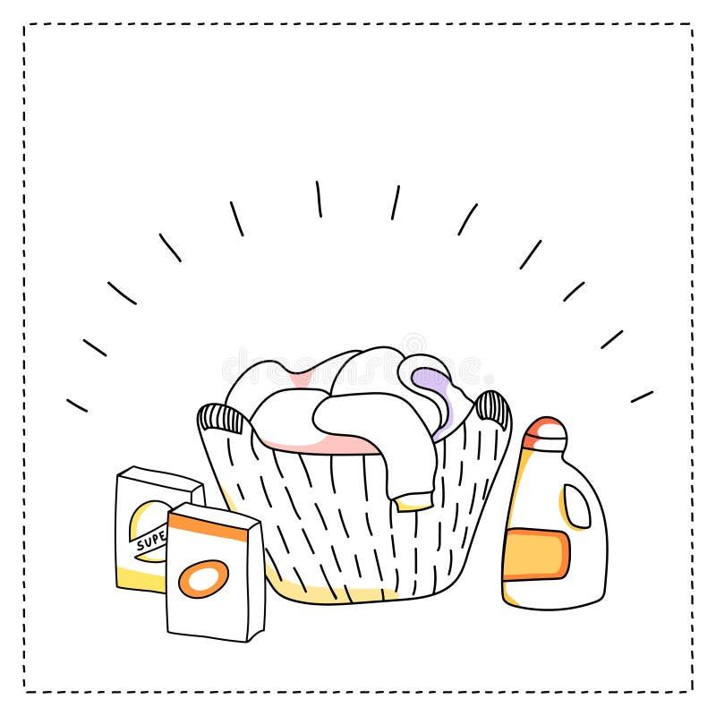 Cesta de lavanderia, detergentes, ilustração do vetor ilustração royalty free