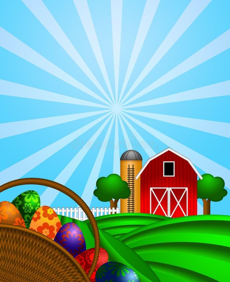 Cesta de los huevos de Pascua con el granero rojo en pasto verde stock de ilustración