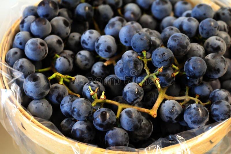 Cesta de madeira das uvas ou dos mirtilos imagens de stock
