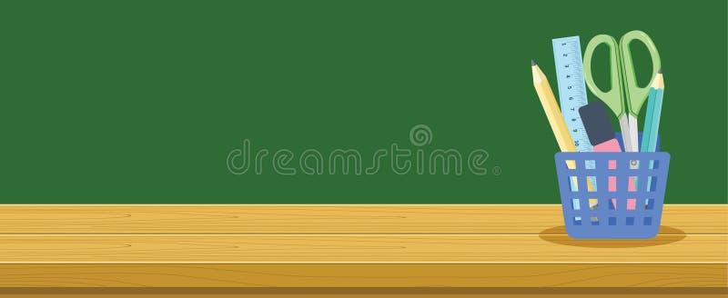 Cesta de madeira para estudantes da escola, conceito da mesa e dos artigos de papelaria da bandeira do fundo da educação ilustração royalty free