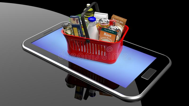 Cesta de mano de las compras por completo ilustración del vector