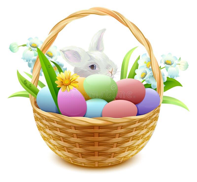 Cesta de mimbre con los huevos, las flores y el conejito de Pascua ilustración del vector