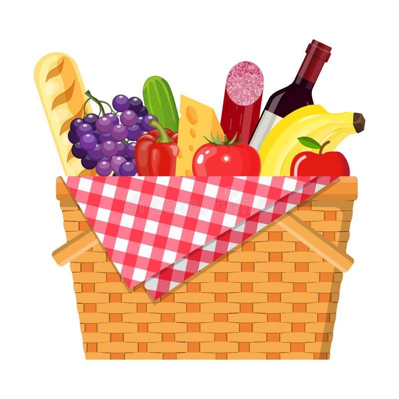 cesta de mimbre de la comida campestre ilustración del vector