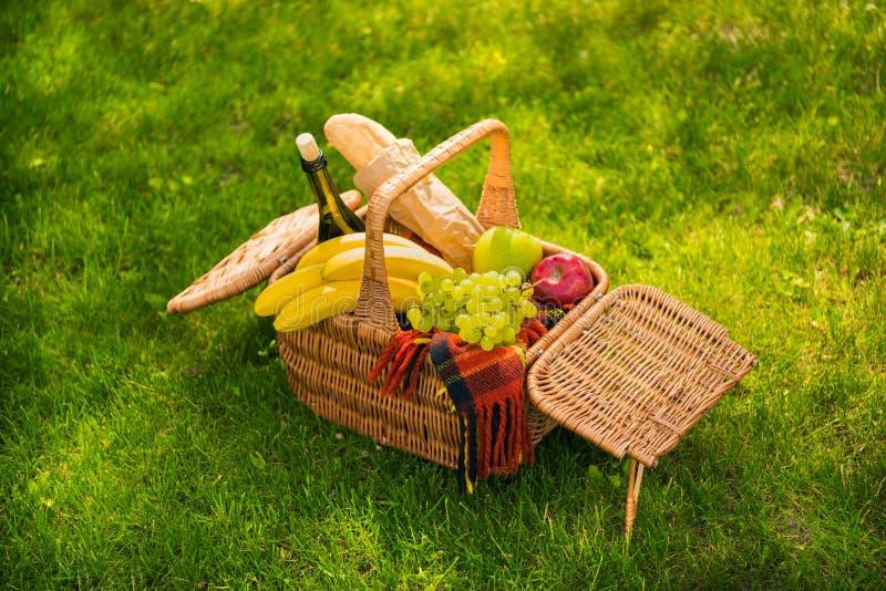 Cesta de mimbre de la comida campestre con las frutas frescas, la botella de vino, el baguette y la tela escocesa en prado verde fotografía de archivo libre de regalías
