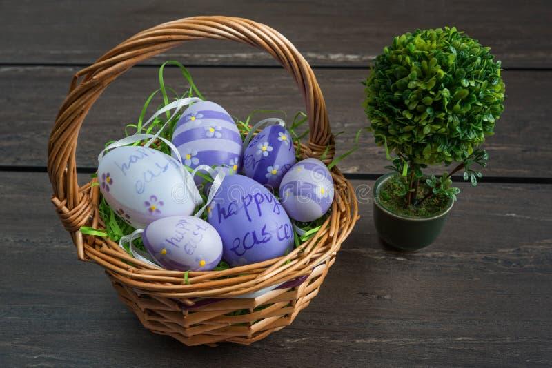 Cesta de mimbre de Pascua con huevos coloreados y un pequeño bonsai en el tablero de madera gris fotos de archivo