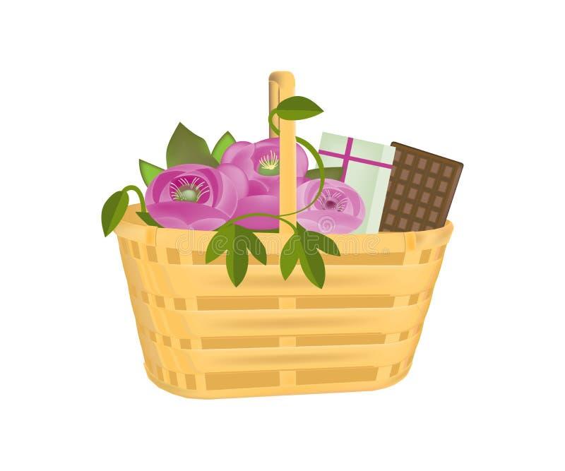 Cesta de mimbre del regalo hermoso con las flores, los regalos y el chocolate libre illustration