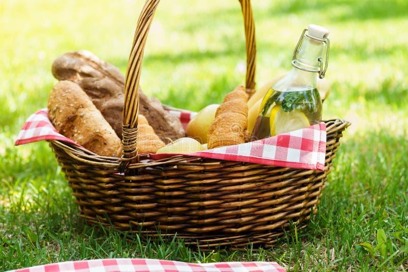 Cesta de mimbre de la comida campestre con la comida y bebida en un parque fotografía de archivo libre de regalías