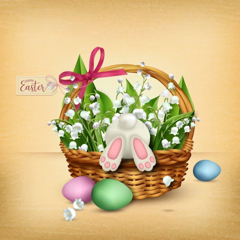 Cesta de mimbre de Pascua con el conejo y las flores ilustración del vector