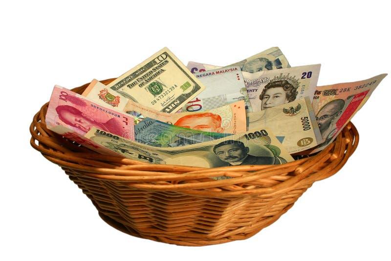 Cesta de moedas fotografia de stock royalty free