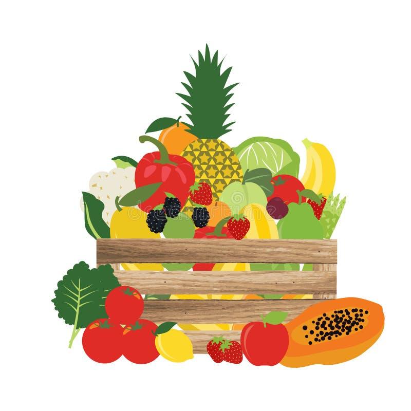 Cesta de natural, frutas e legumes, ilustração do vetor do alimento ilustração do vetor