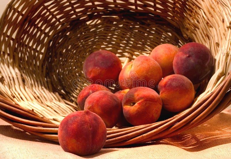 Cesta de pêssegos amarelos, bem, o que é deixado dele:-)) fotografia de stock