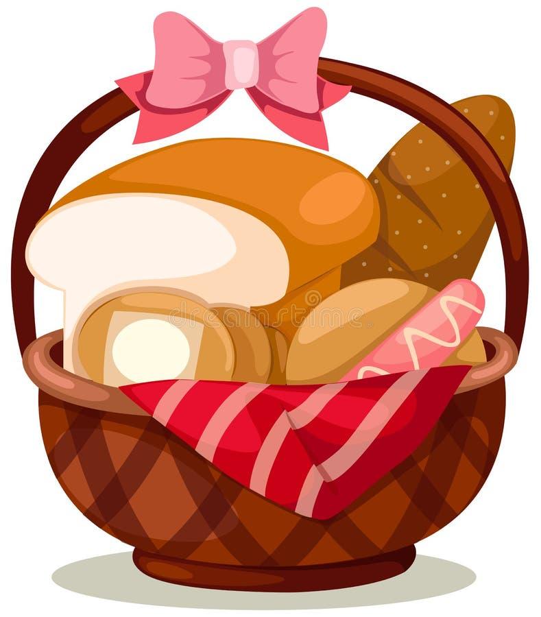 Cesta de pan stock de ilustración