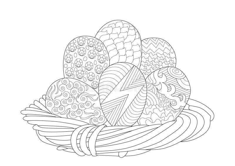 Cesta de Pascua con 6 huevos en el modelo de Zentangle ilustración del vector