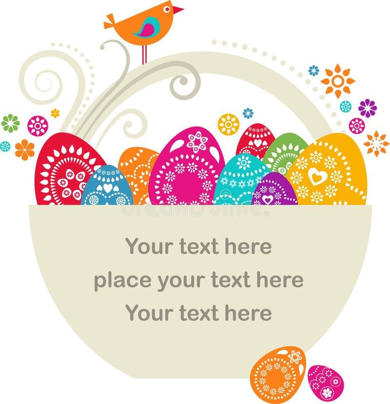 Cesta de Pascua con los huevos pianted stock de ilustración