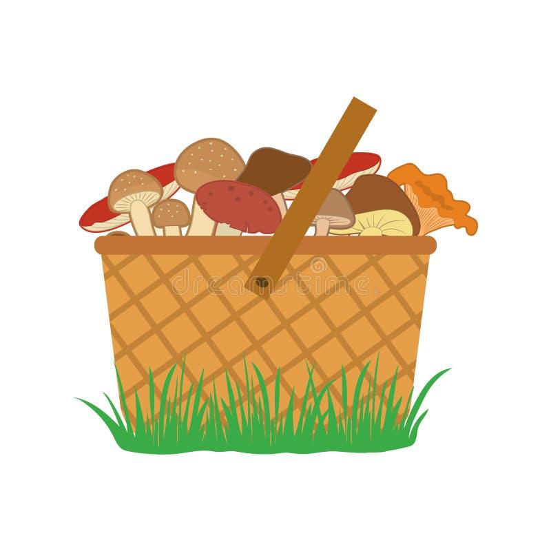 Cesta de setas en la hierba, vector coloreado libre illustration