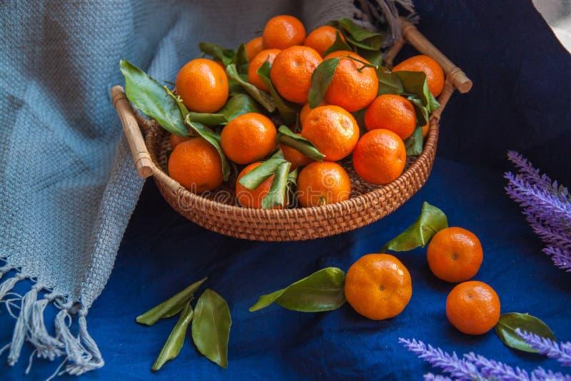 Cesta de tanjerinas frescas Tangerins com folhas verdes fotos de stock royalty free