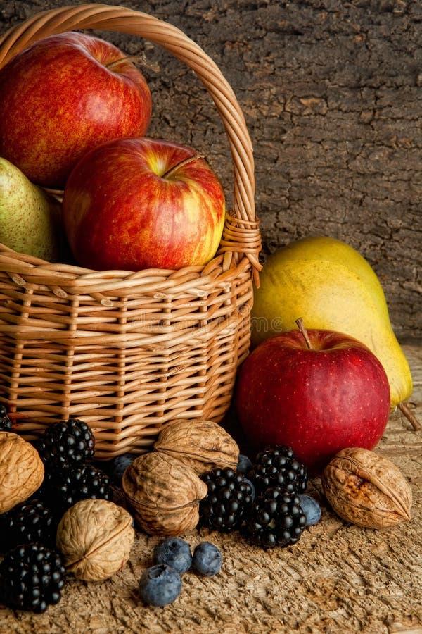 Cesta de Thankgiving com bagas do outono imagens de stock