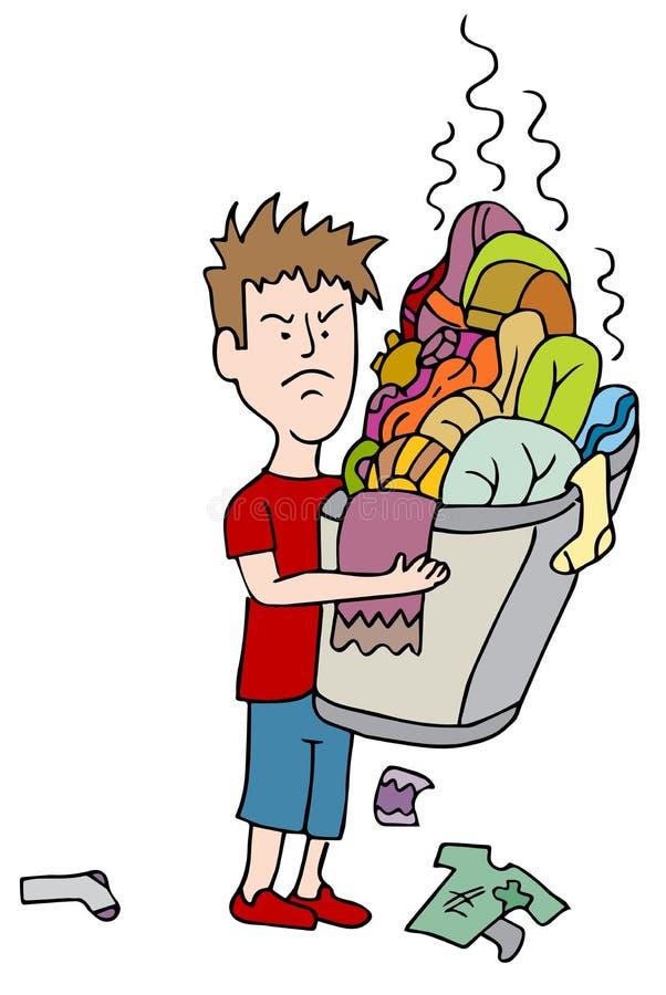 Cesta de transbordamento levando da criança irritada da lavanderia suja ilustração do vetor