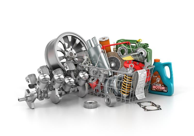 Cesta de uma loja completamente das peças de automóvel ilustração stock